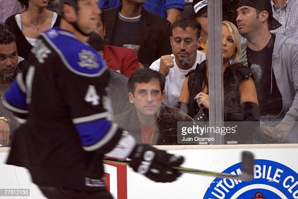 Steve Carell of the 'Office' watches Rob Blake of the Los Angeles Kings skate during the game against the Boston Bruins in the game against the...