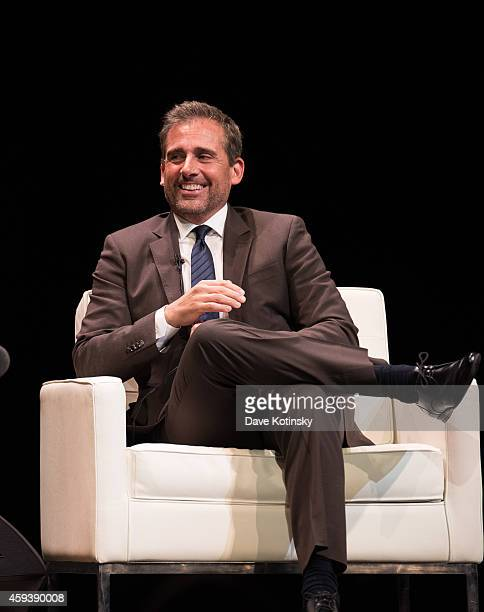 Steve Carell speaks at the 2014 Montclair Film Festival Stephen Colbert And Steve Carell In Conversation at New Jersey Performing Arts Center on...