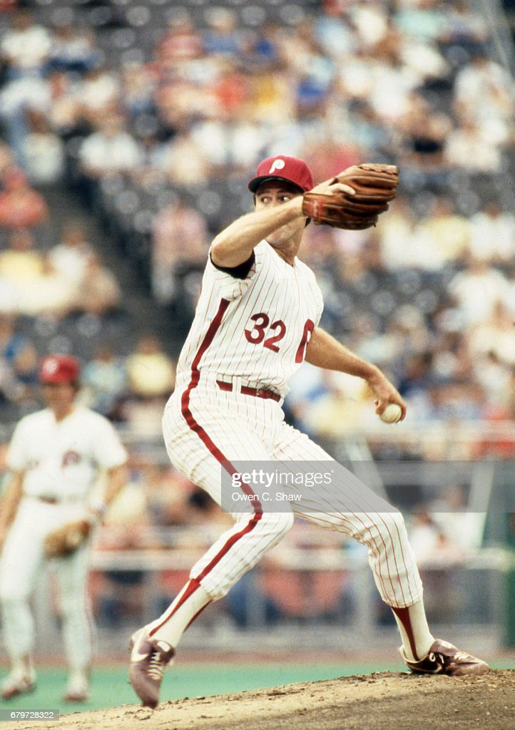 Steve Carlton of the Philadelphia Phillies circa 1983 pitching at Veterans Stadium in Philadelphia, Pennsylvania.