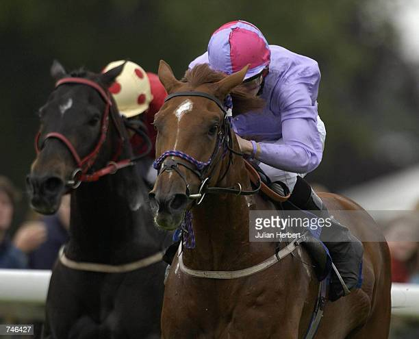 Steve Carson and Palace Affair lead the field home to land The Axminster Carpets Cathedral Stakes run at Salisbury Racecourse in Salisbury on June 16...