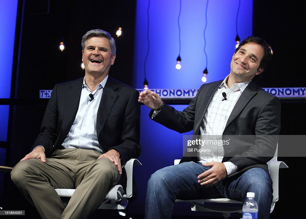 Steve Case (L), Chairman and CEO of Revolution LLC and co-founder of America On Line, sits with Josh Linkner, of Detroit Venture Partners, while speaking at TECHONOMYDETROIT September 12, 2012 in Detroit, Michigan. The event, hosted by the Detroit Economic Club, is a one-day multidisciplinary gathering of national and local leaders about reigniting U.S. competitiveness, creating jobs, and revitalizing our cities in a technologized age.