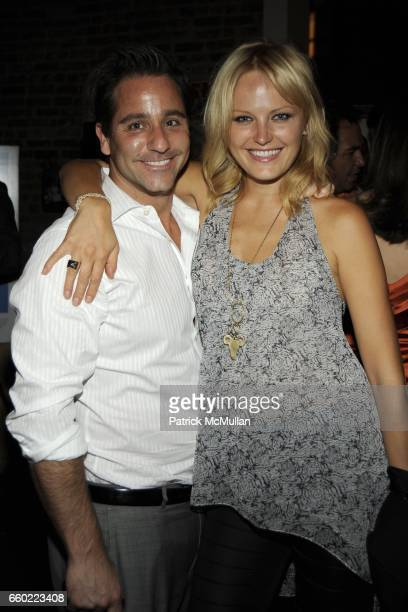 Steve Caserta and Malin Akerman attend THE CINEMA SOCIETY THE NEW YORKER host the after party for 'IN THE LOOP' at Scuderia on July 13 2009 in New...