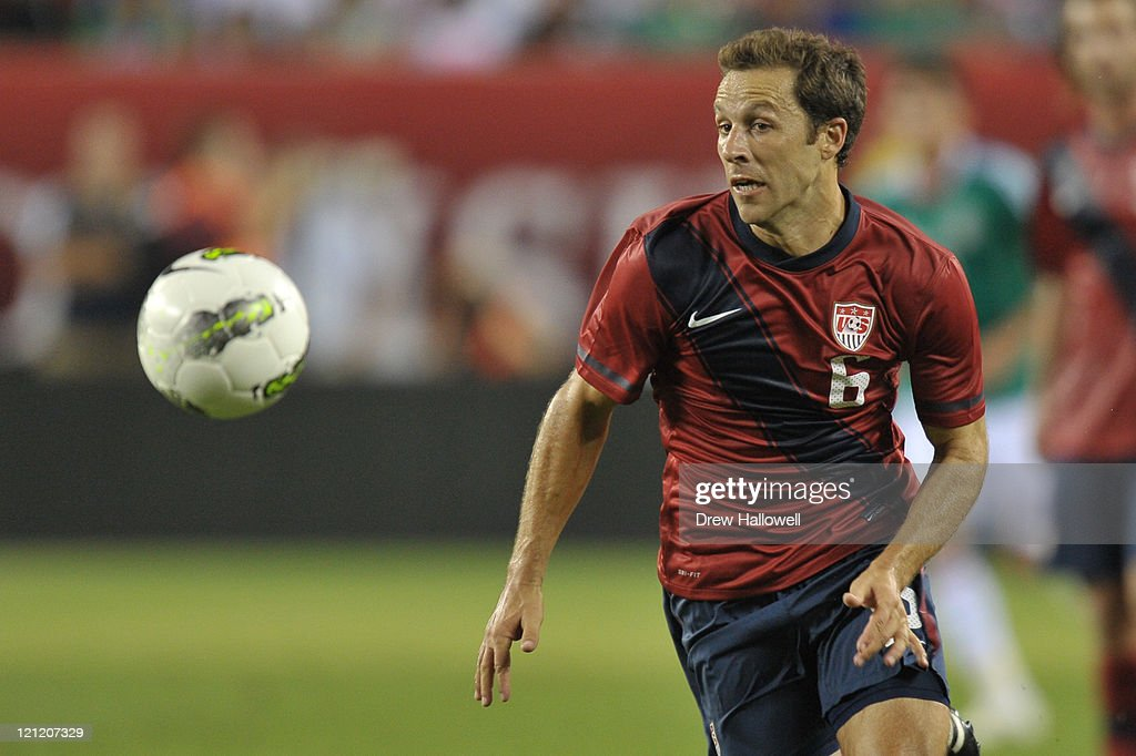 Steve Cherundolo of the United States plays the ball during the game against Mexico at Lincoln Financial Field on August 10 2011 in Philadelphia...