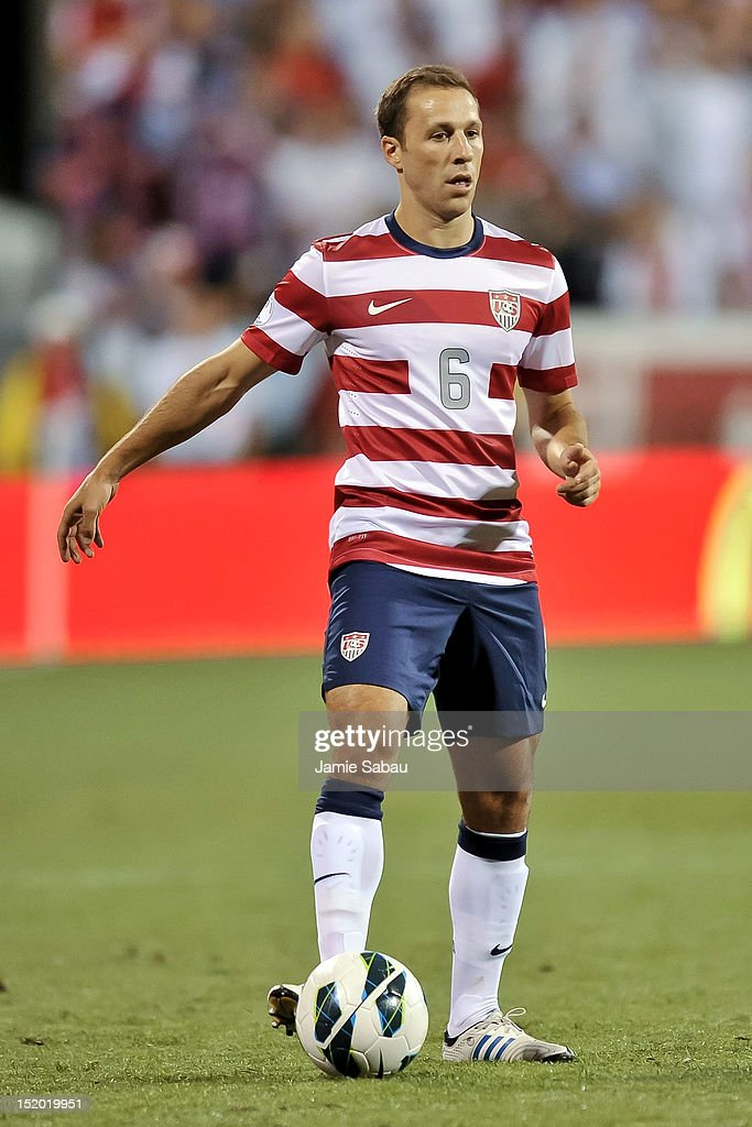 Steve Cherundolo of the US National Team controls the ball against Jamaica on September 11 2012 at Crew Stadium in Columbus Ohio