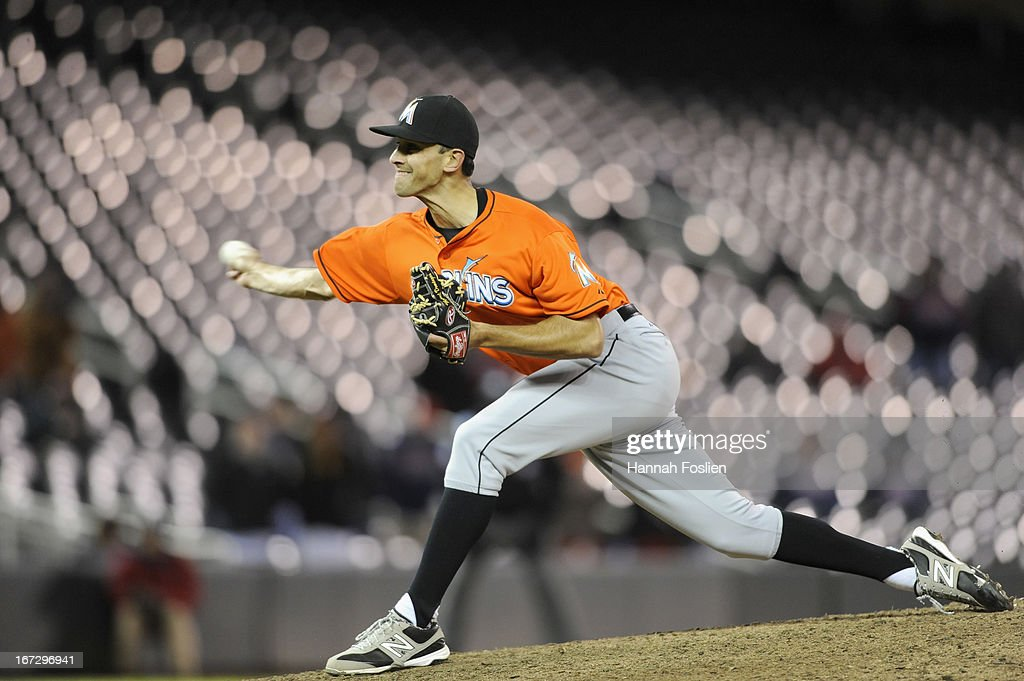 <a gi-track='captionPersonalityLinkClicked' href=/galleries/search?phrase=Steve+Cishek&family=editorial&specificpeople=7542919 ng-click='$event.stopPropagation()'>Steve Cishek</a> #31 of the Miami Marlins delivers a pitch during the ninth inning against the Minnesota Twins of the second game of a doubleheader on April 23, 2013 at Target Field in Minneapolis, Minnesota. The Marlins defeated the Twins 8-5.