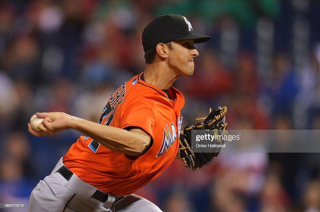 <a gi-track='captionPersonalityLinkClicked' href=/galleries/search?phrase=Steve+Cishek&family=editorial&specificpeople=7542919 ng-click='$event.stopPropagation()'>Steve Cishek</a> #31 of the Miami Marlins delivers a pitch in the eighth inning against the Philadelphia Phillies at Citizens Bank Park on April 11, 2014 in Philadelphia, Pennsylvania. The Phillies won 6-3.