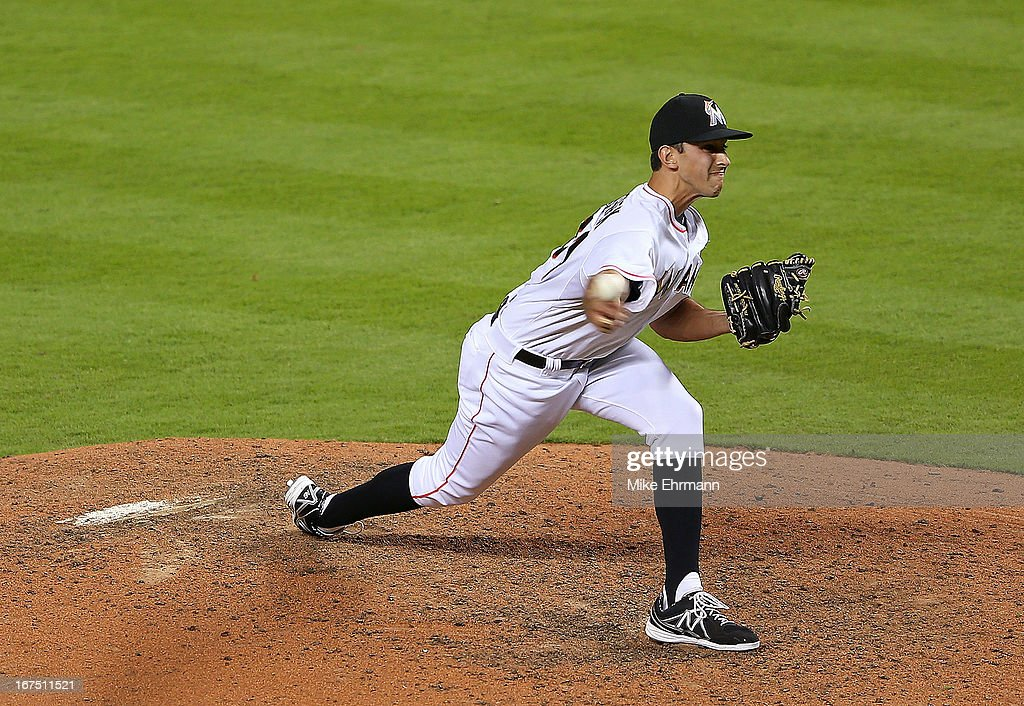 Steve Cishek #31 of the Miami Marlins pitches during a game at Marlins Park on April 25, 2013 in Miami, Florida.