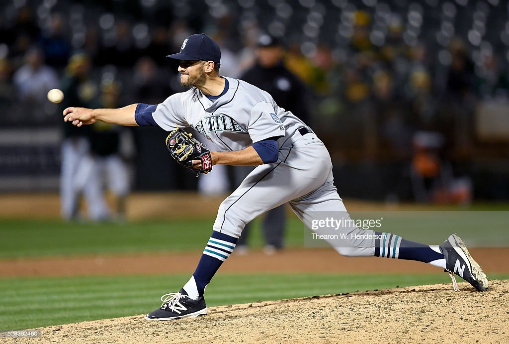 <a gi-track='captionPersonalityLinkClicked' href=/galleries/search?phrase=Steve+Cishek&family=editorial&specificpeople=7542919 ng-click='$event.stopPropagation()'>Steve Cishek</a> #31 of the Seattle Mariners pitches against the Oakland Athletics in the bottom of the ninth inning at O.co Coliseum on May 2, 2016 in Oakland, California.