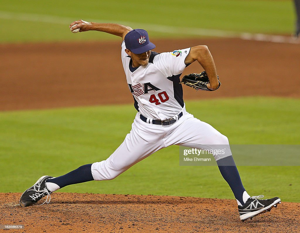 <a gi-track='captionPersonalityLinkClicked' href=/galleries/search?phrase=Steve+Cishek&family=editorial&specificpeople=7542919 ng-click='$event.stopPropagation()'>Steve Cishek</a> #40 of the United States pitches during a World Baseball Classic second round game against Puerto Rico at Marlins Park on March 12, 2013 in Miami, Florida.