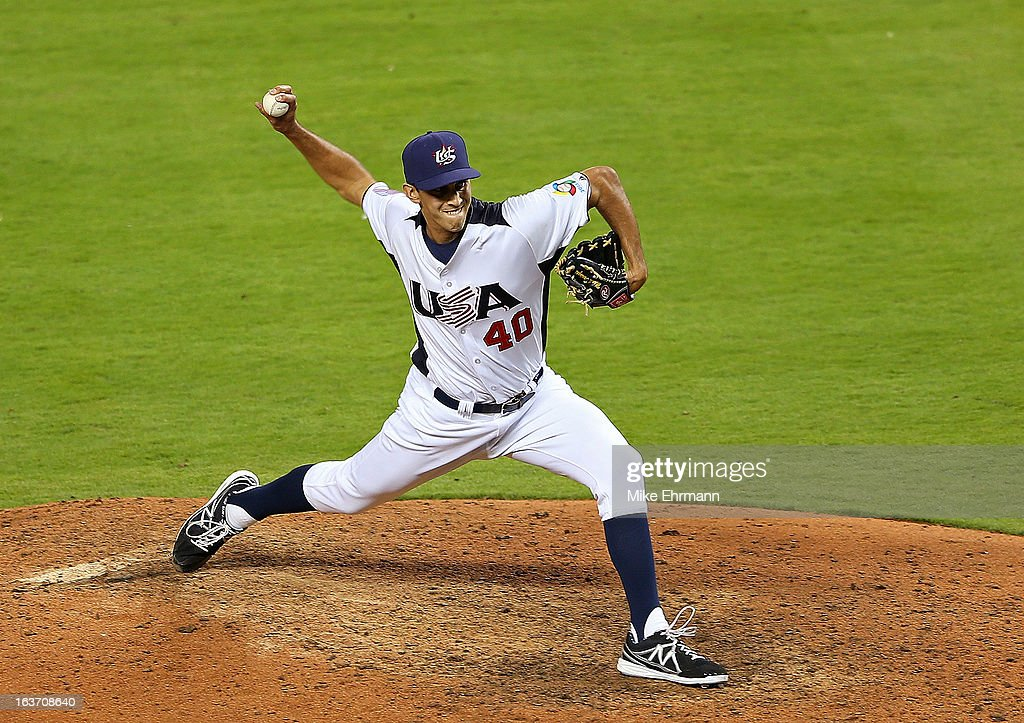 <a gi-track='captionPersonalityLinkClicked' href=/galleries/search?phrase=Steve+Cishek&family=editorial&specificpeople=7542919 ng-click='$event.stopPropagation()'>Steve Cishek</a> #40 of the USA pitches during a World Baseball Classic second round game against the Dominican Republic at Marlins Park at Marlins Park on March 14, 2013 in Miami, Florida.