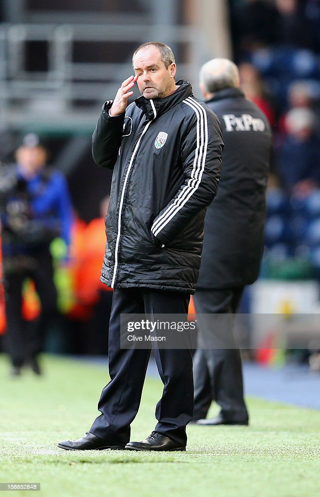 Steve Clarke of West Bromich Albion looks on during the Barclays Premier League match between West Bromwich Albion and Fulham at The Hawthorns, on January 1, 2013 in West Bromwich, England.