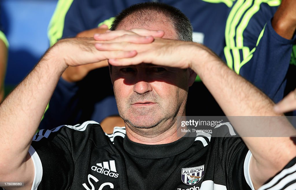 Steve Clarke the manager of West Bromwich Albion during the pre-season friendly between West Bromwich Albion and Atromitosat Greenhous Meadow on July 29, 2013 in Shrewsbury, England.
