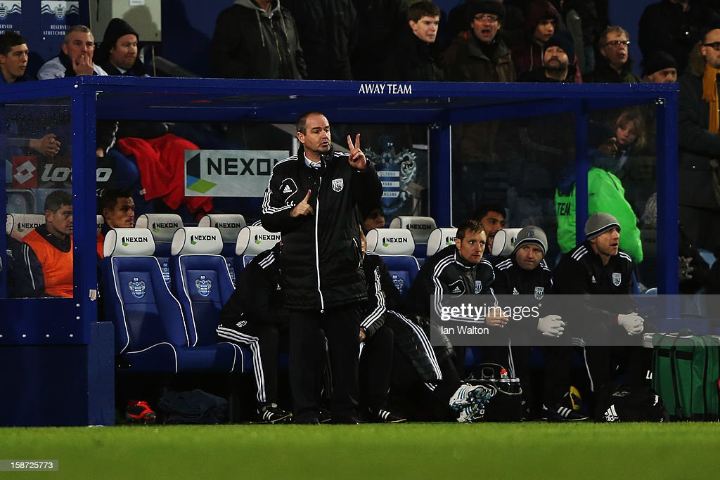 Steve Clarke the West Bromwich Albion manager shouts instructions during the Barclays Premier League match between Queens Park Rangers and West Bromwich Albion at Loftus Road on December 26, 2012 in London, England.