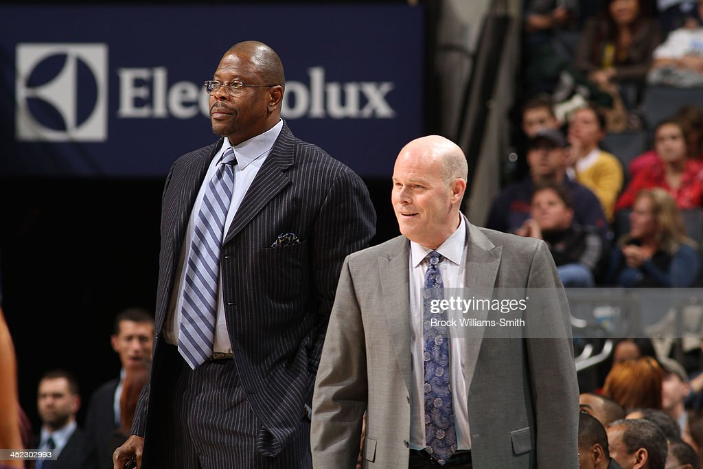 Steve Clifford, Head Coach, and Patrick Ewing, Assistant Coach of the Charlotte Bobcats during the game against the Indiana Pacers at the Time Warner Cable Arena on November 27, 2013 in Charlotte, North Carolina.