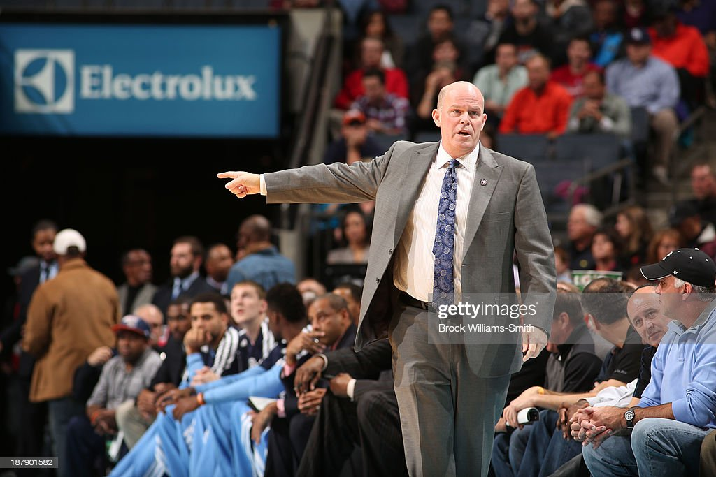 Steve Clifford, Head Coach of the Charlotte Bobcats returns to the bench tonight against the Atlanta Hawks during the game at the Time Warner Cable Arena on November 11, 2013 in Charlotte, North Carolina.