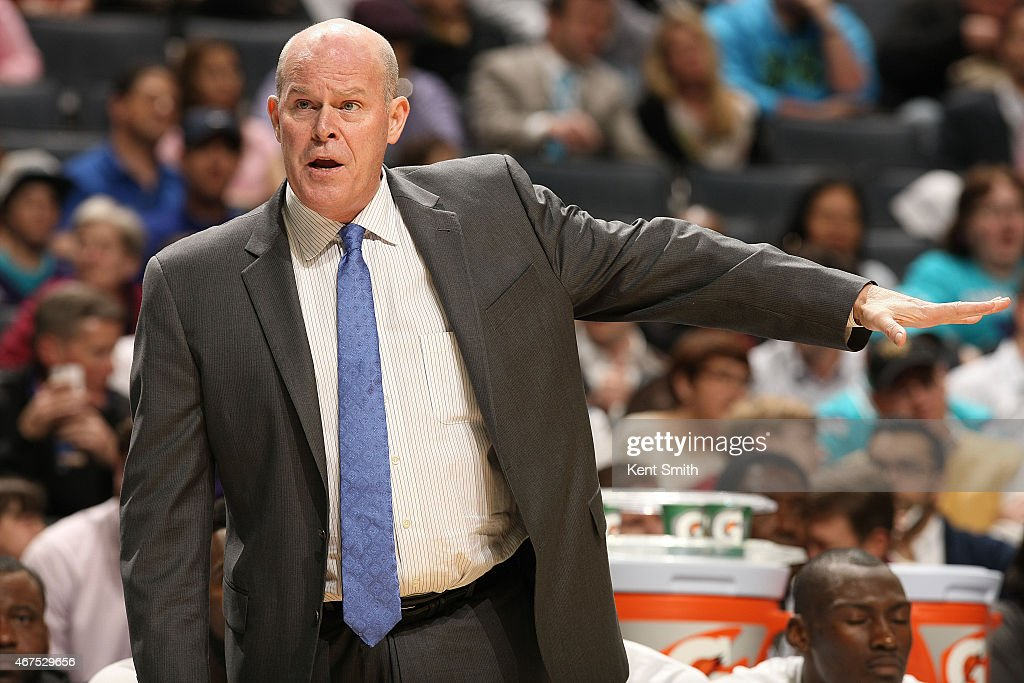 Steve Clifford head coach of the Charlotte Hornets during the game against the Brooklyn Nets at the Time Warner Cable Arena on March 25 2015 in...