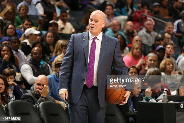 Steve Clifford head coach of the Charlotte Hornets during the game against the New York Knicks at the Time Warner Cable Arena on November 11 2015 in...