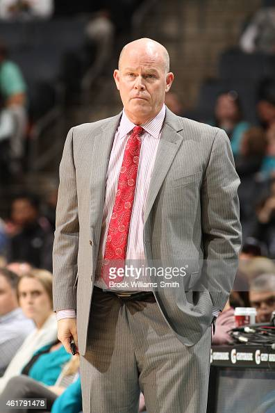 Steve Clifford head coach of the Charlotte Hornets watches a play against the Minnesota Timberwolves during the game at the Time Warner Cable Arena...