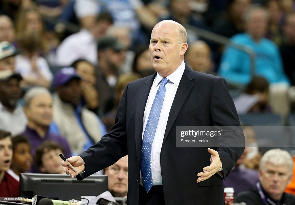 Steve Clifford of the Charlotte Hornets reacts during their game against the Milwaukee Bucks at Time Warner Cable Arena on January 16, 2016 in Charlotte, North Carolina.