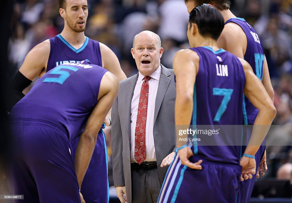 Steve Clifford the head coach of the Charlotte Hornets gives instructions to his team during the game against the Indiana Pacers at Bankers Life...