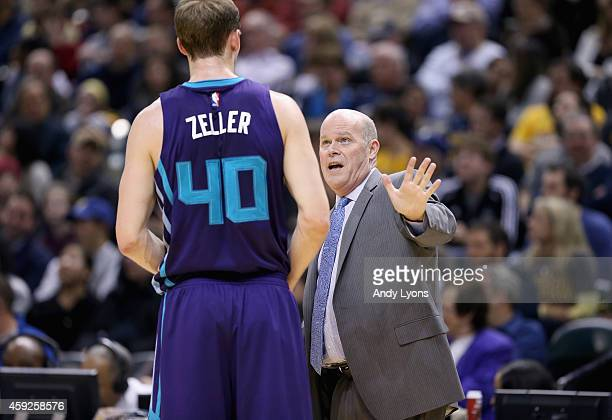 Steve Clifford the head of the Charlotte Hornets gives instructions to Cody Zeller during the game against Indiana Pacers at Bankers Life Fieldhouse...