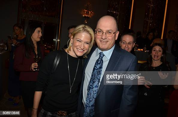 Steve Cohen owner of Point72 Asset Management LP right stands for a photograph with Julie Macklowe founder and chief executive officer of the...