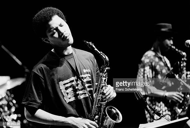 Steve Coleman alto saxophone performs with Greg Osby at the Jazzmarathon on December 7th 1990 in the Oosterpoort in Groningen Netherlands