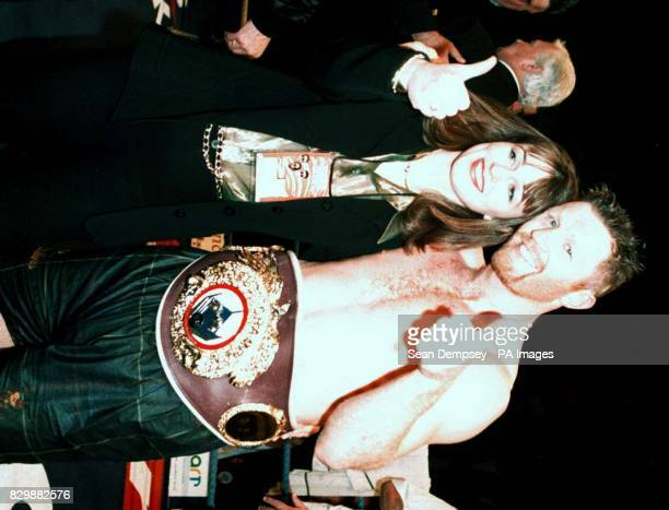 Steve Collins celebrates his victory over Nigel Benn with wife Gemma Collins successfully retained his WBO Super Middleweight title at the Nynex...