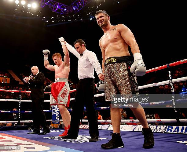 Steve Collins Jnr celebrates his victory over Paul Morris during their Cruiserweight bout at Wembley Arena on July 20 2013 in London England