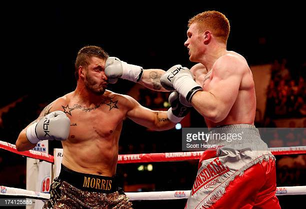 Steve Collins Jnr in action with Paul Morris during their Cruiserweight bout at Wembley Arena on July 20 2013 in London England