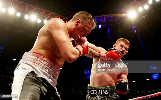 Steve Collins Jnr in action with Tommy Gifford during their Cruiserweight bout at The Copper Box on February 15 2014 in London England