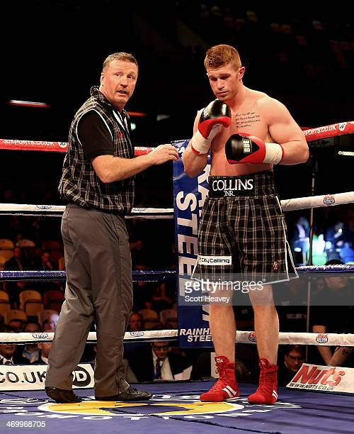 Steve Collins Jnr with his father Steve Collins during his Cruiserweight bout with Tommy Gifford at The Copper Box on February 15 2014 in London...