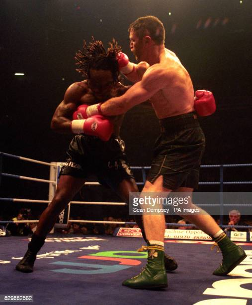 Steve Collins on his way to victory against Nigel Benn at the Nynex Arena Manchester tonight Photo by Sean Dempsey/PA