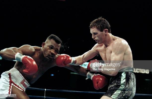 Steve Collins throws a punch against Reggie Johnson during the fight at Meadowlands Arena in East Rutherford New Jersey Reggie Johnson won vacant WBA...