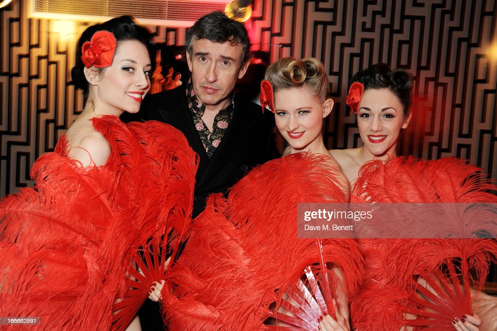 Steve Coogan and models pose at the UK Premiere of 'The Look Of Love' at the Curzon Soho on April 15 2013 in London England