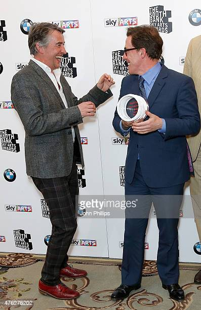 Steve Coogan and Rob Brydon winners of the Comedy award for 'The Trip To Italy' in the press room at the South Bank Sky Arts Awards at The Savoy...
