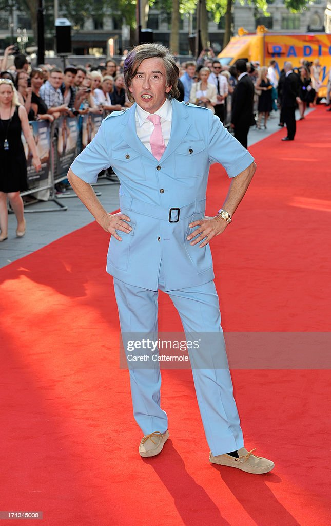 Steve Coogan arrives as Alan Partridge as he attends the London Premiere of 'Alan Partidge: Alpha Papa' at Vue Leicester Square on July 24, 2013 in London, England.