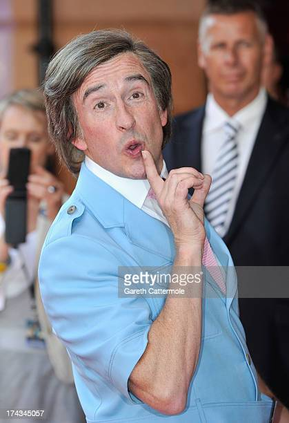 Steve Coogan arrives as Alan Partridge as he attends the London Premiere of 'Alan Partidge Alpha Papa' at Vue Leicester Square on July 24 2013 in...
