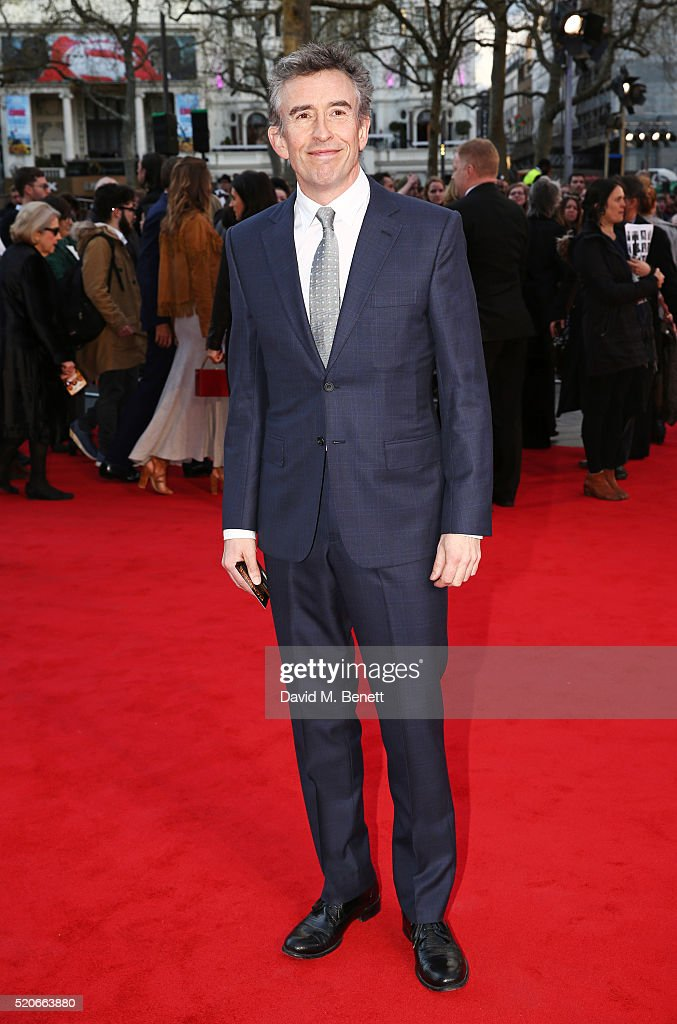 Steve Coogan arrives for the UK film premiere Of 'Florence Foster Jenkins' at Odeon Leicester Square on April 12, 2016 in London, England.