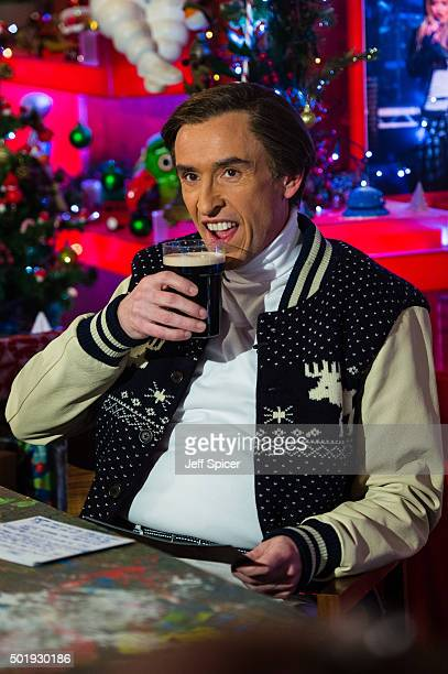 Steve Coogan as Alan Partridge during a live broadcast of 'TFI Friday' on December 18 2015 in London England