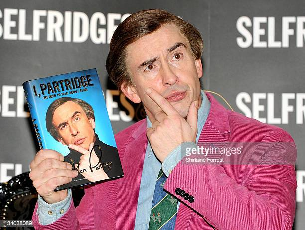 Steve Coogan as Alan Partridge signs copies of his latest book ' I Patridge We Need to Talk About Alan' at Selfridges on November 24 2011 in...