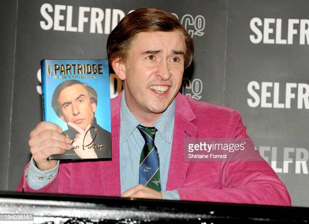 Steve Coogan as Alan Partridge signs copies of his latest book I Patridge We Need to Talk About Alan at Selfridges on November 24 2011 in Manchester...