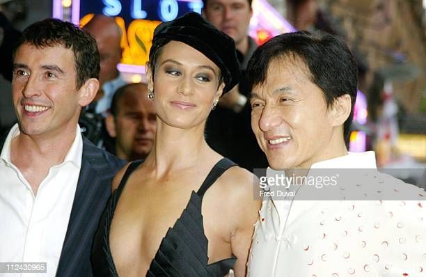 Steve Coogan Cecile de France and Jackie Chan during 'Around the World in 80 Days' London Premiere at Vue Cinema in London Great Britain