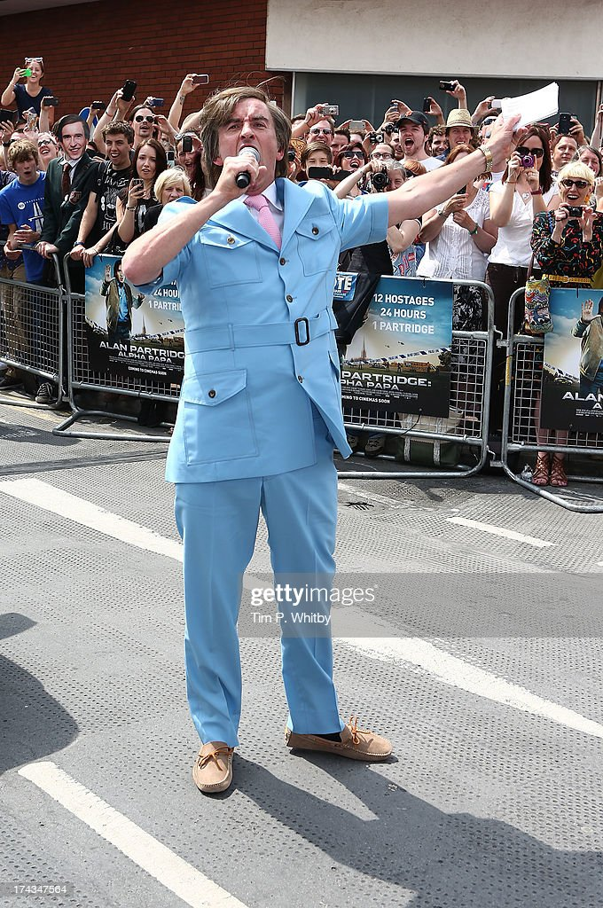 Steve Coogan in character as Alan Partridge attends the 'Alan Partridge: Alpha Papa' World Premiere Day at Hollywood Cinema Norwich on July 24, 2013 in London, England.
