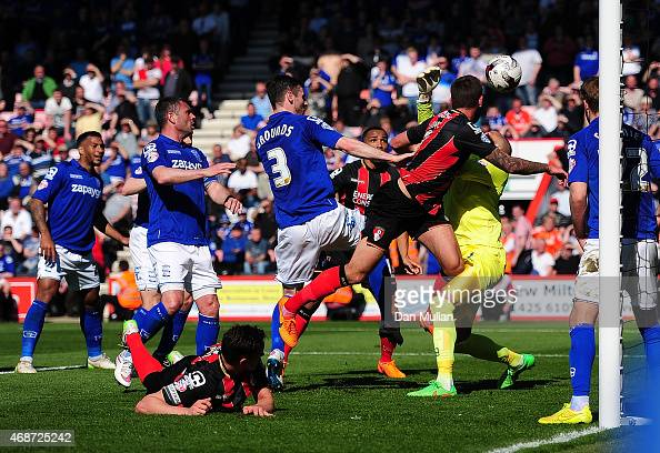 Steve Cook of AFC Bournemouth scores his side's first goal during the Sky Bet Championship match between AFC Bournemouth and Birmingham City at...