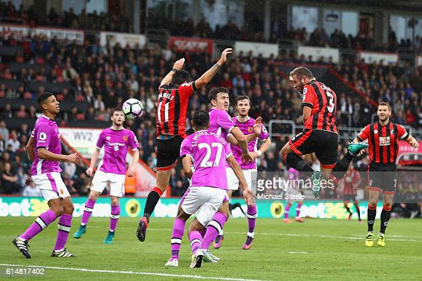 Steve Cook of AFC Bournemouth scores his sides second goal during the Premier League match between AFC Bournemouth and Hull City at Vitality Stadium...