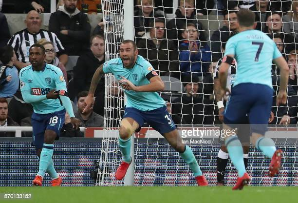Steve Cook of Bournemouth celebrates after he scores during the Premier League match between Newcastle United and AFC Bournemouth at St James Park on...