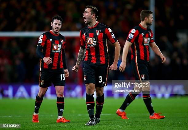Steve Cook of Bournemouth celebrates after the final whistle in the Barclays Premier League match between AFC Bournemouth and Manchester United at...