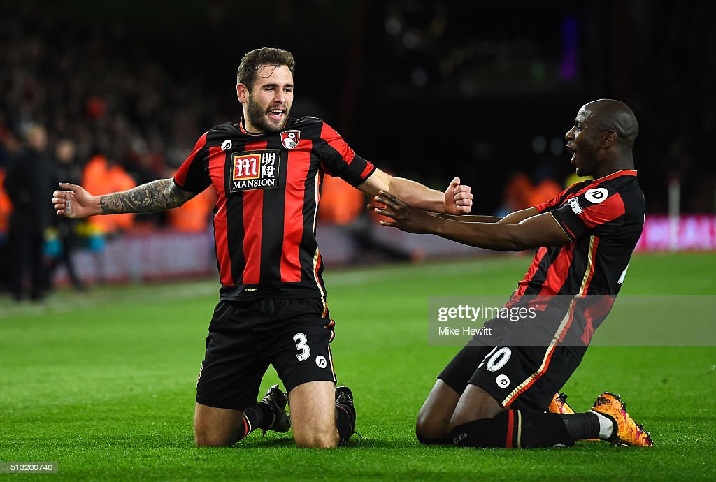 Steve Cook (L) of Bournemouth celebrates scoring his team's first goal with his team mate Benik Afobe (R) during the Barclays Premier League match between A.F.C. Bournemouth and Southampton at Vitality Stadium on March 1, 2016 in Bournemouth, England.