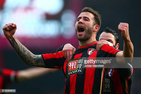 Steve Cook of Bournemouth celebrates scoring his team's third goal during the Barclays Premier League match between AFC Bournemouth and Swansea City...